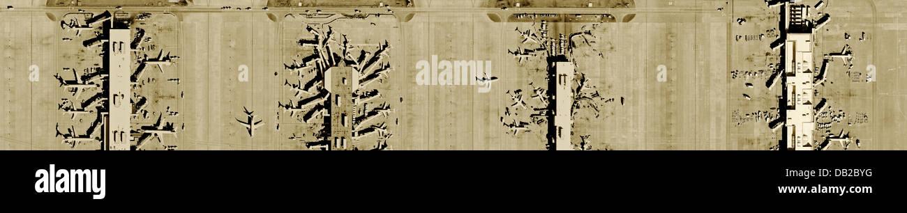 aerial photograph gate terminals Hartsfield Jackson Atlanta International airport, Georgia - Stock Image