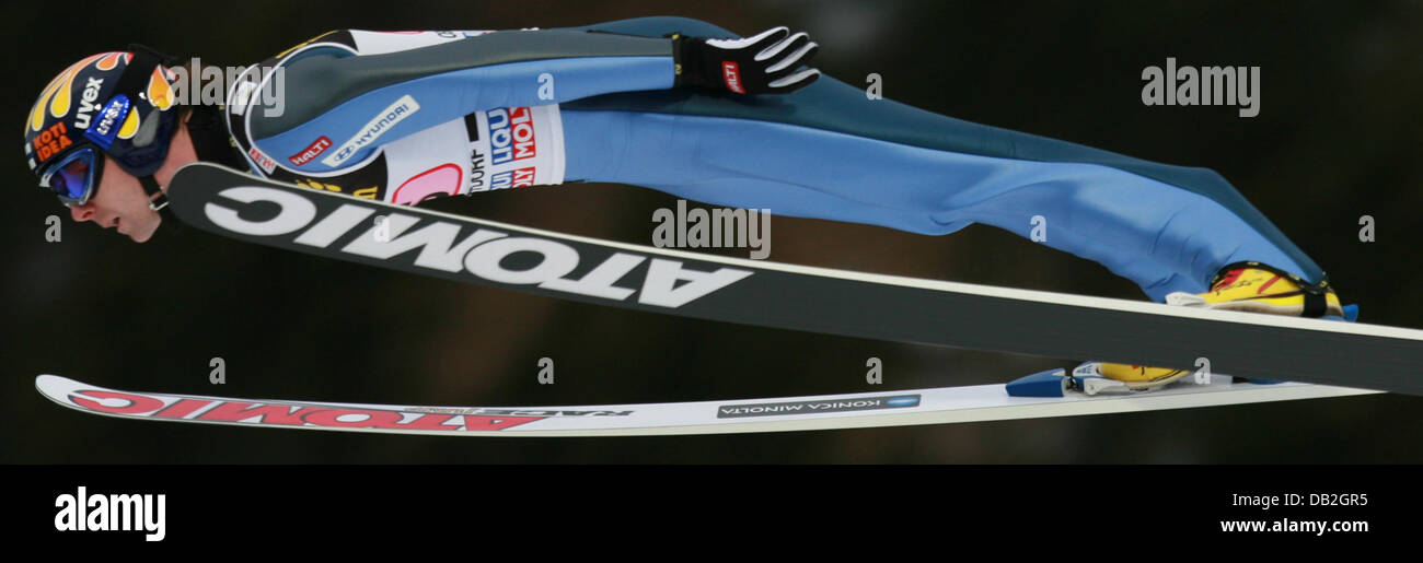 Finnish ski jumper Janne Ahonen soars through the air during his jump in Oberstdorf, Germany, 30 December 2007. - Stock Image