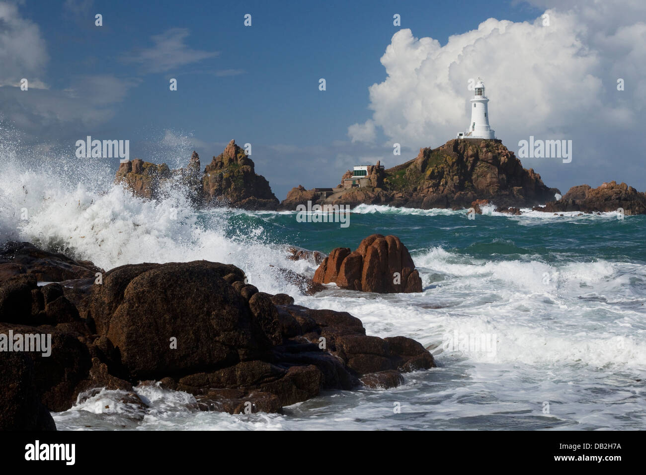 Corbiere Lighthouse Jersey Channel Islands, UK LA005939 - Stock Image