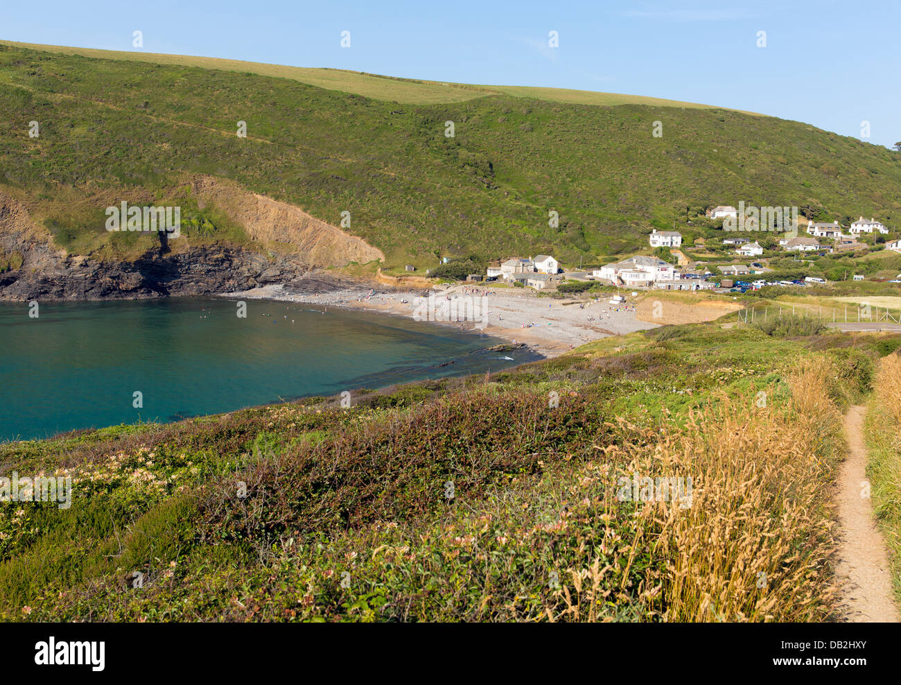 Crackington Haven beach North Cornwall between Bude and Tintagel  England UK South West Coast Path on a beautiful - Stock Image