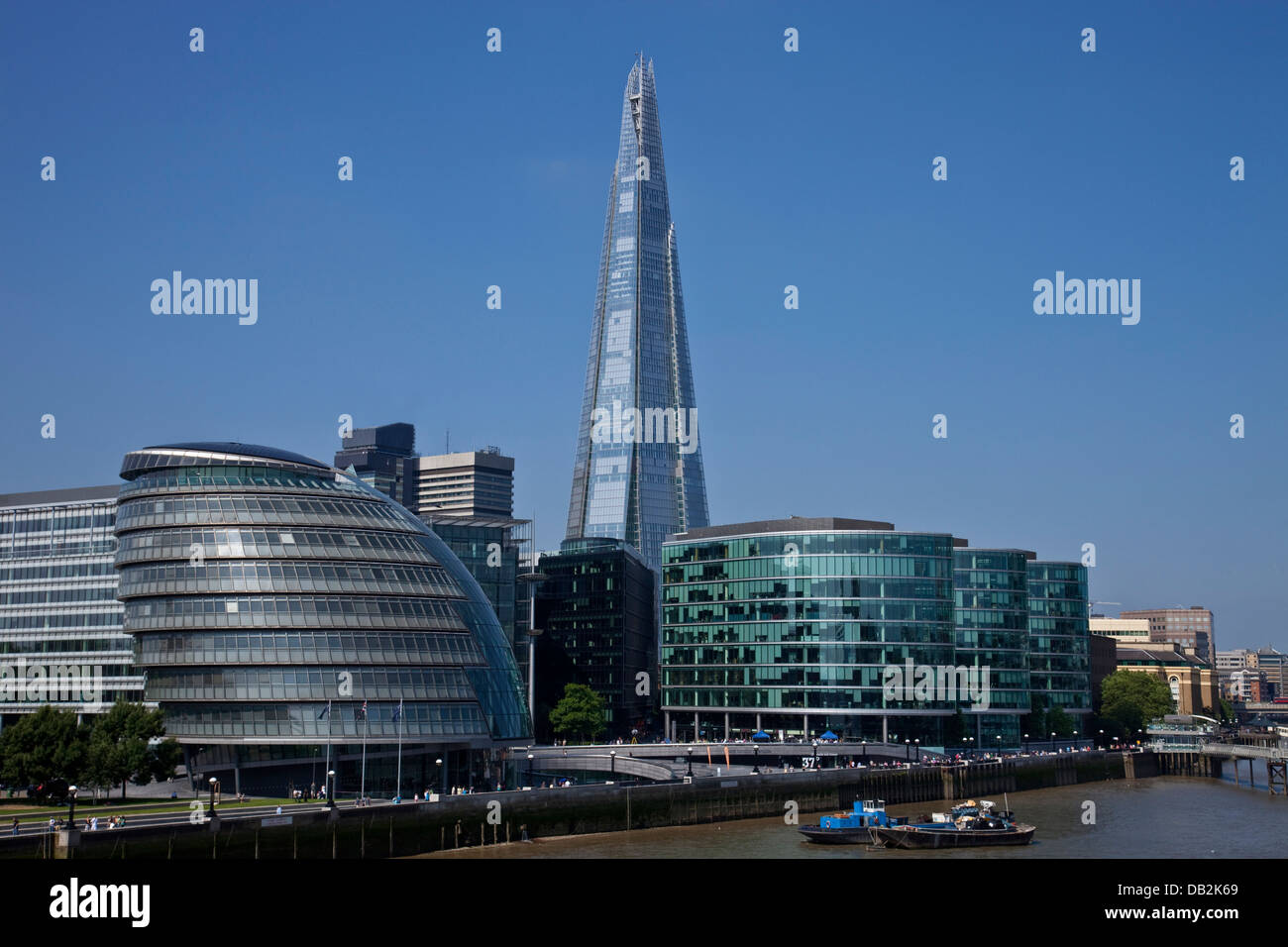 The London Assembly Building (City Hall), More London Development and The Shard, London, England - Stock Image