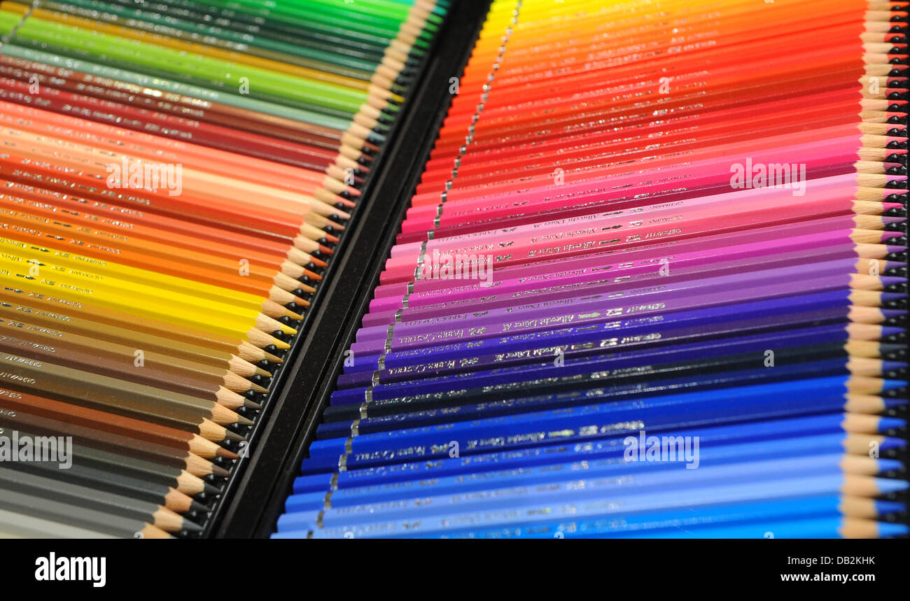 (FILE)An archive photo dated 04 May 2011 shows the colorful pencils of the company Faber Castell being displayed - Stock Image
