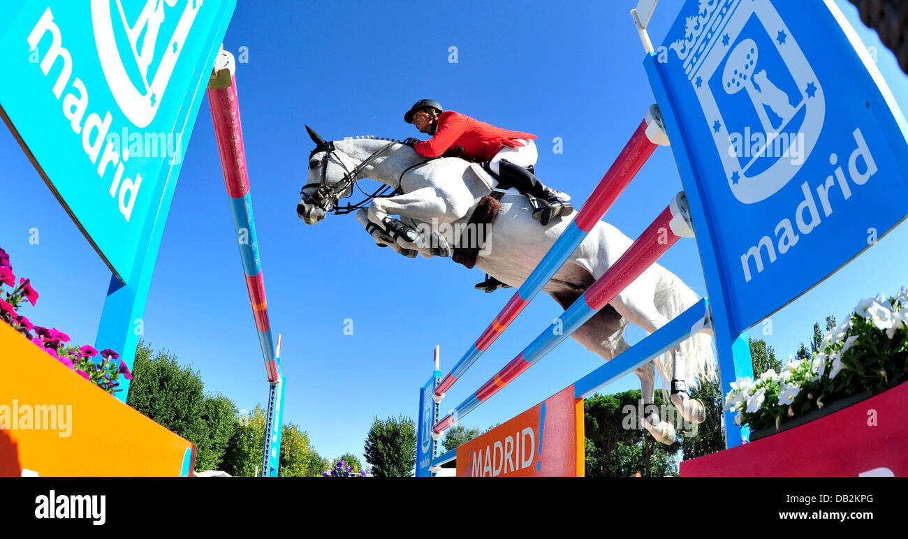 German show jumper Marco Kutscher rides at the European Championship in Madrid, Spain, 15 September 2011. Photo: Stock Photo