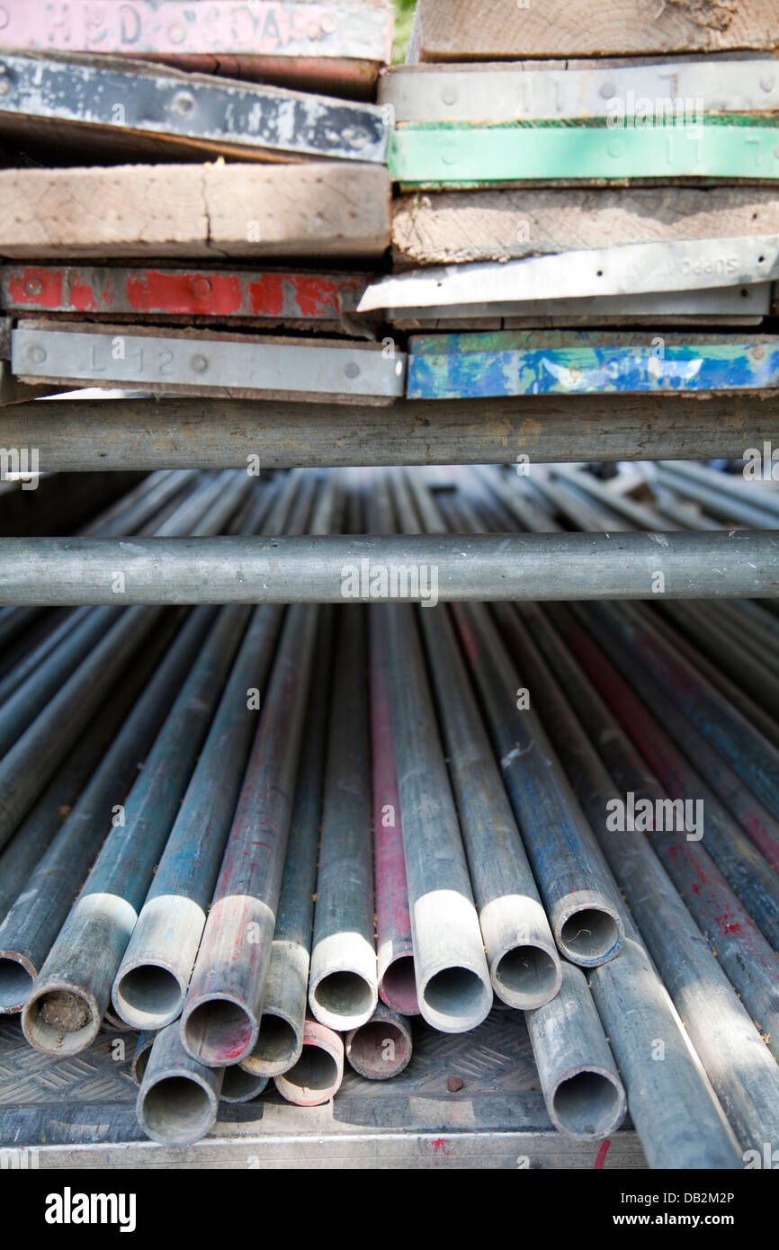 Scaffolding Steel Tubes an Planks - Stock Image