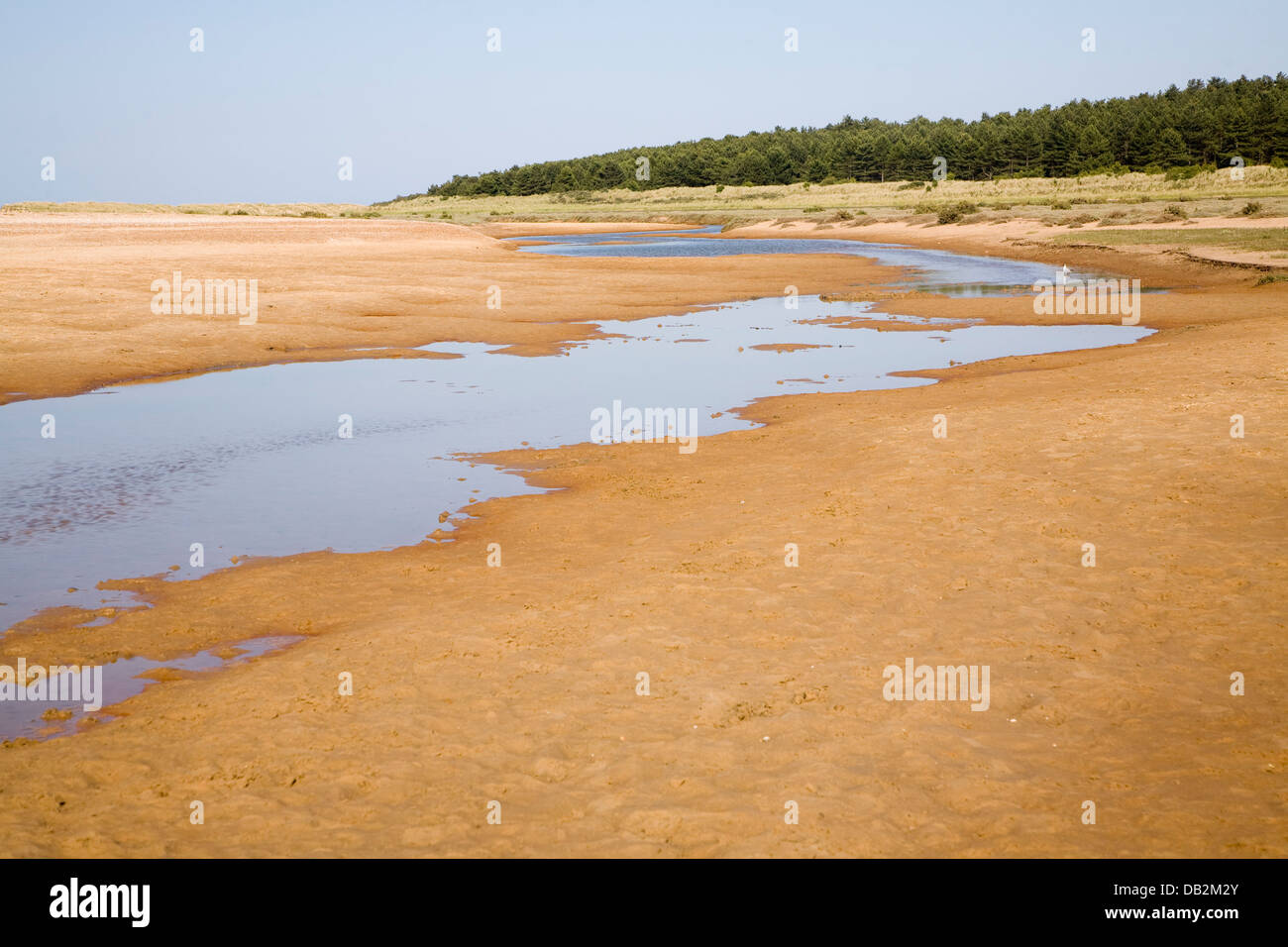 Stream running across wide sandy beach Holkham Norfolk England - Stock Image