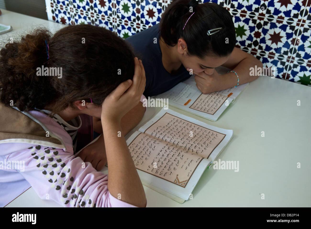 students at the Madrassa of the Islamic Community Imam Malik of Ceuta . Ceuta. Spain.North Africa. - Stock Image