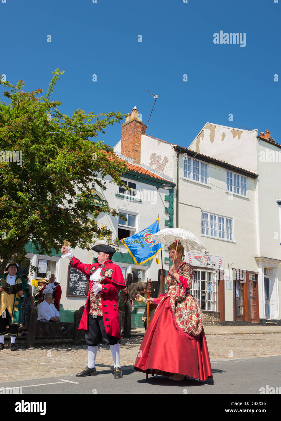 Town crier competing in the town crier competition in the Bridlington Old Town festival - Stock Image