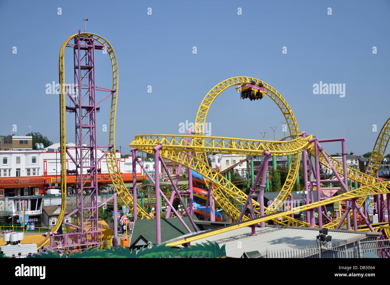 A ride at Adventure Island, Southend-on-Sea - Stock Image