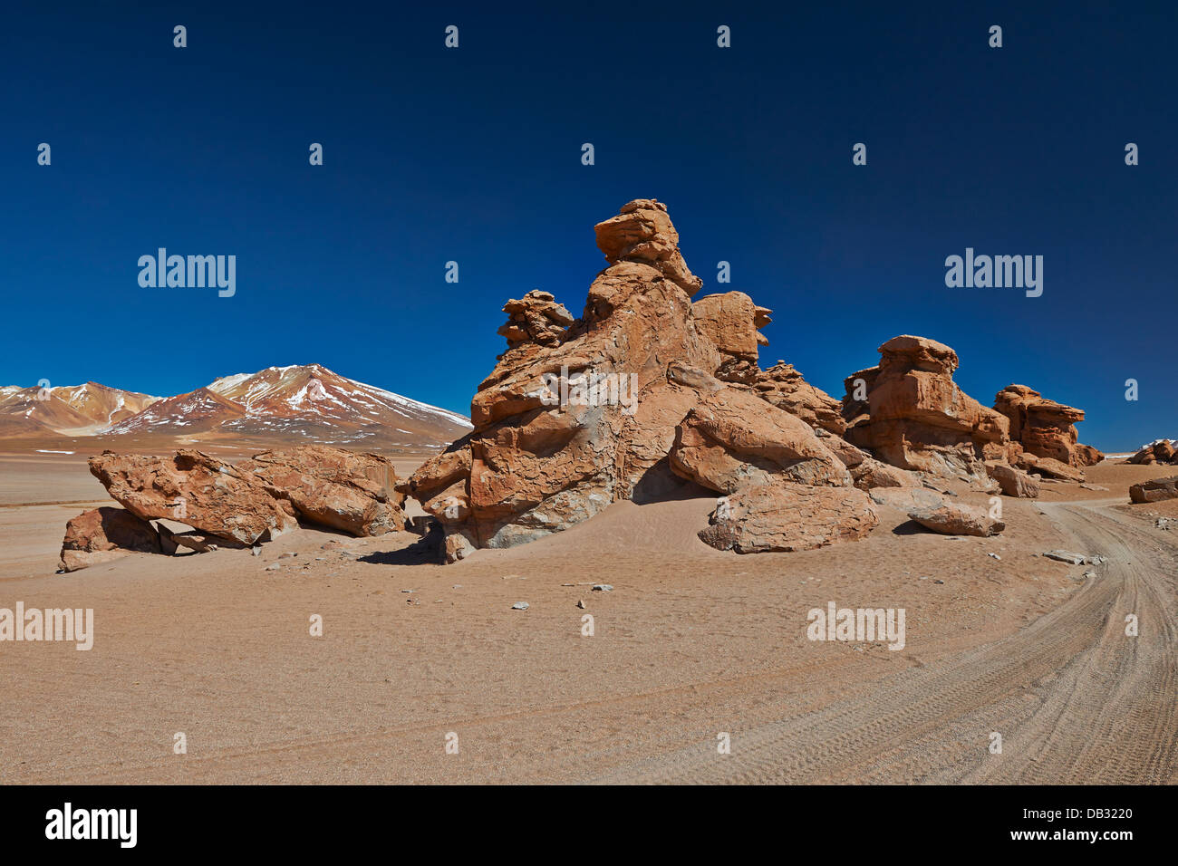 erosion landscape with rocks and mountains, Reserva Nacional de Fauna Andina Eduardo Abaroa, Bolivia, South America - Stock Image