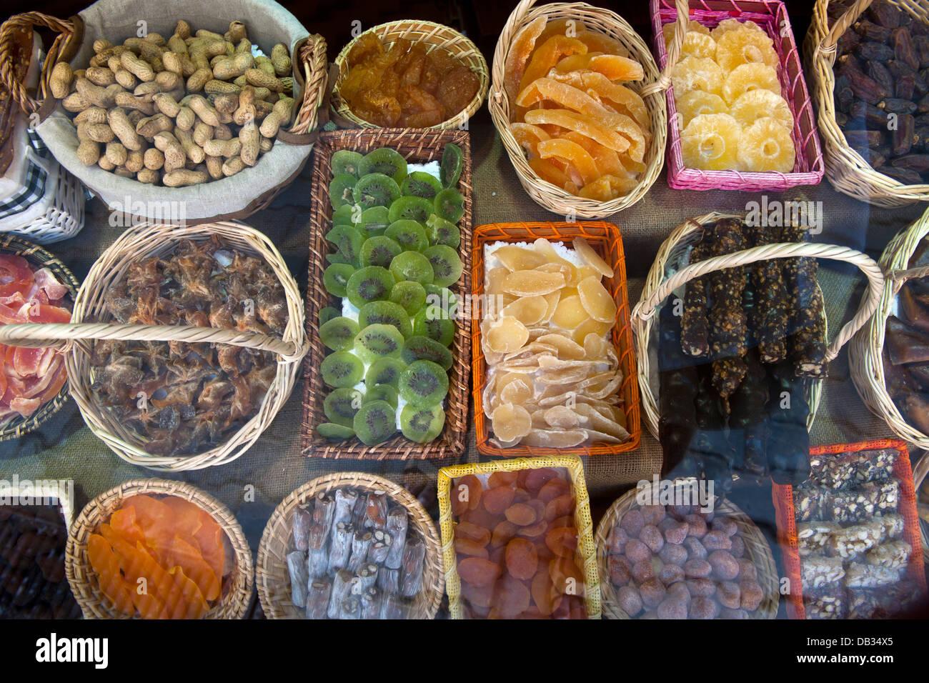 Türkei, Provinz Mugla, Göcek, eine Spezialität, getrocknete Früchte und Nüsse Stock Photo