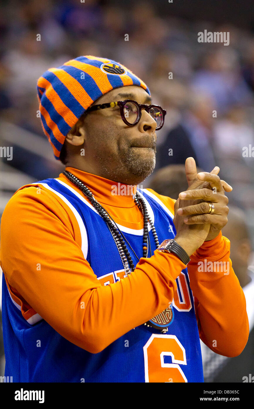 3148cd3ec22 Spike Lee looks on from his courtside seat at the Prudential Center during  the New Jersey Nets versus New York Nicks basketball match Newark