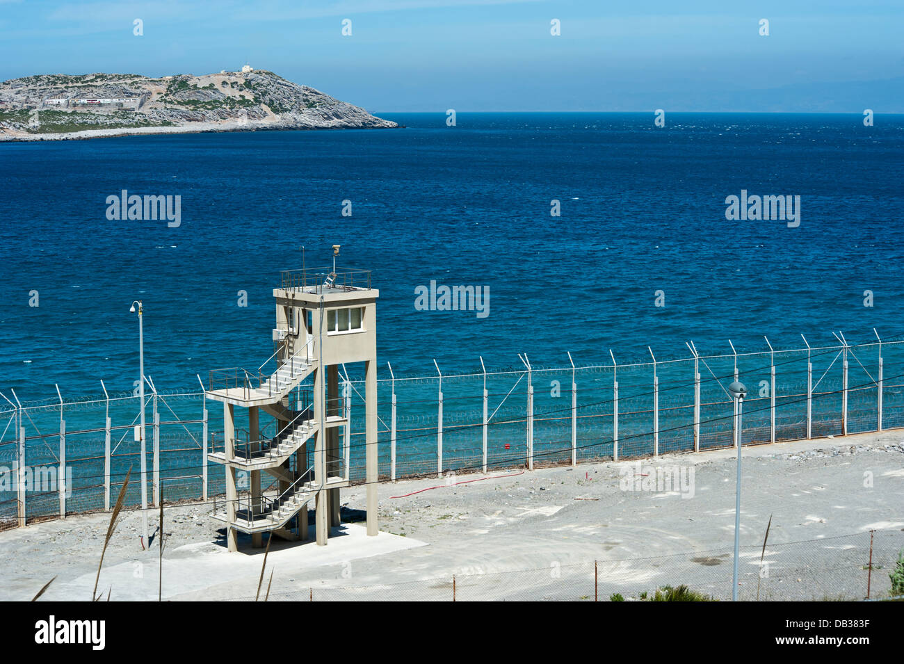Perimeter fence in Benzu village that separates the Spanish enclave of Ceuta and Morocco. Ceuta,North Africa. Spain. - Stock Image