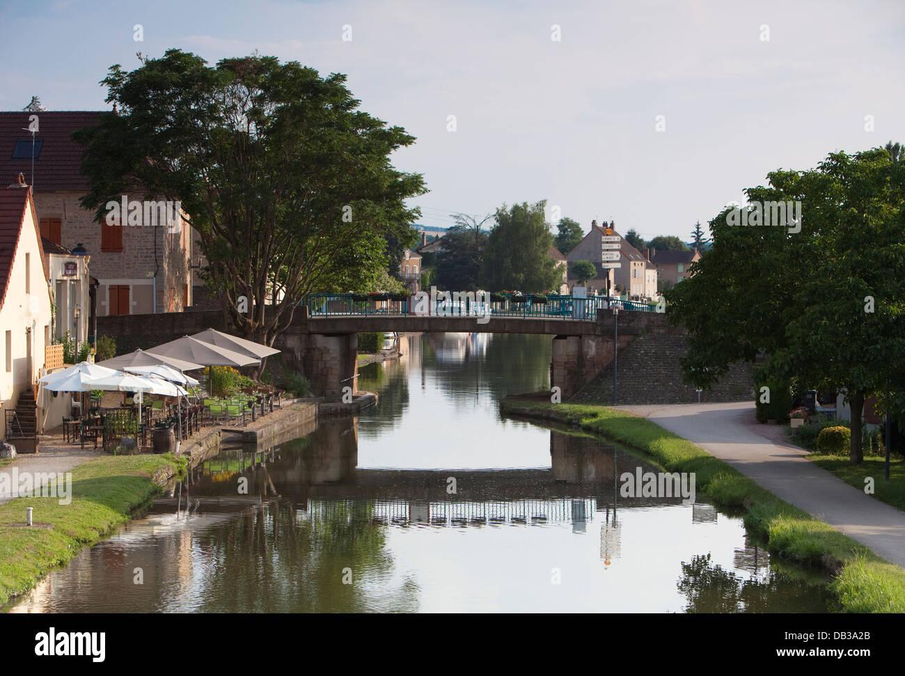 Burgundian canals - Canal du Centre Stock Photo