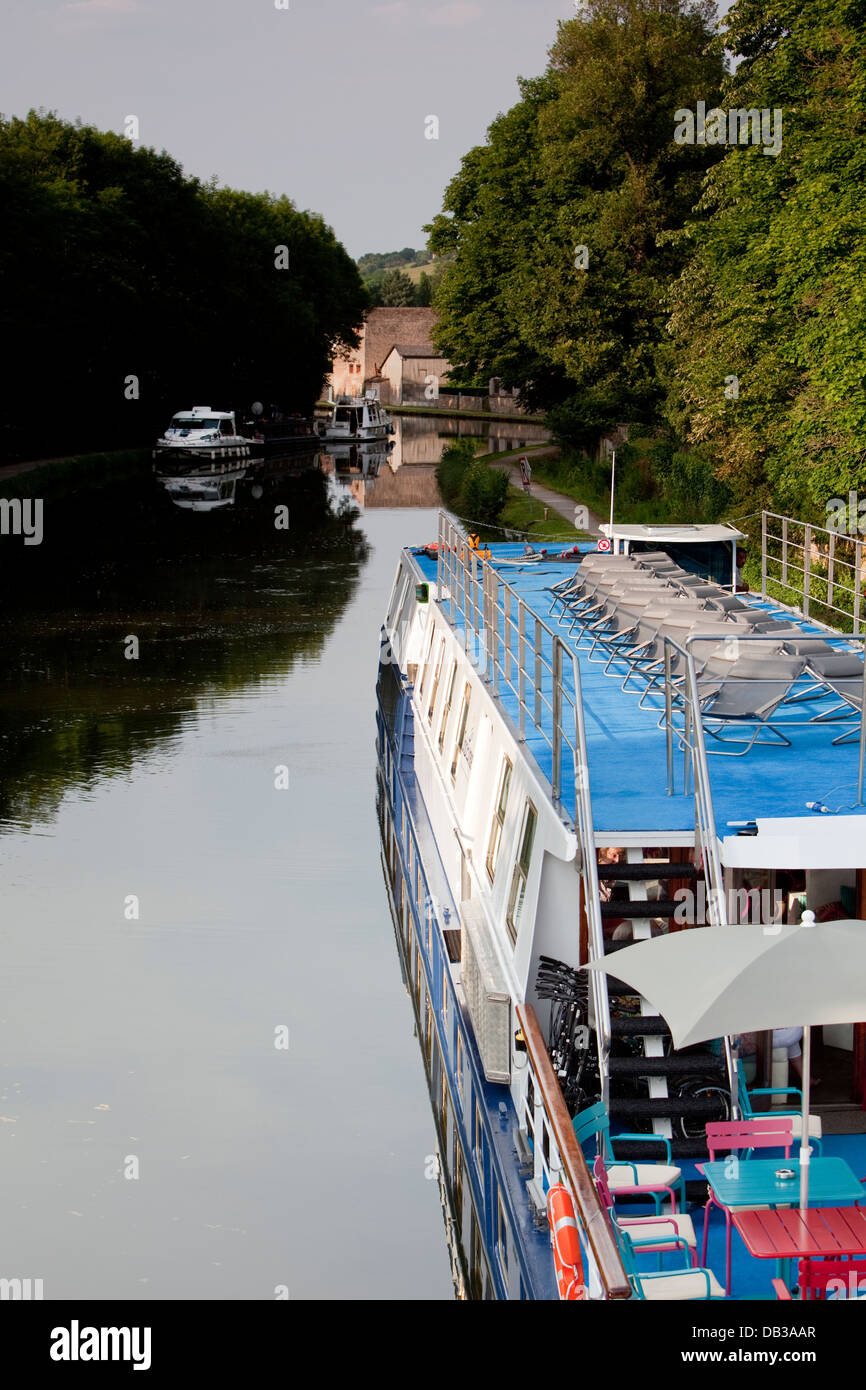 Burgundian canals - Canal du Centre. Canal boats Stock Photo