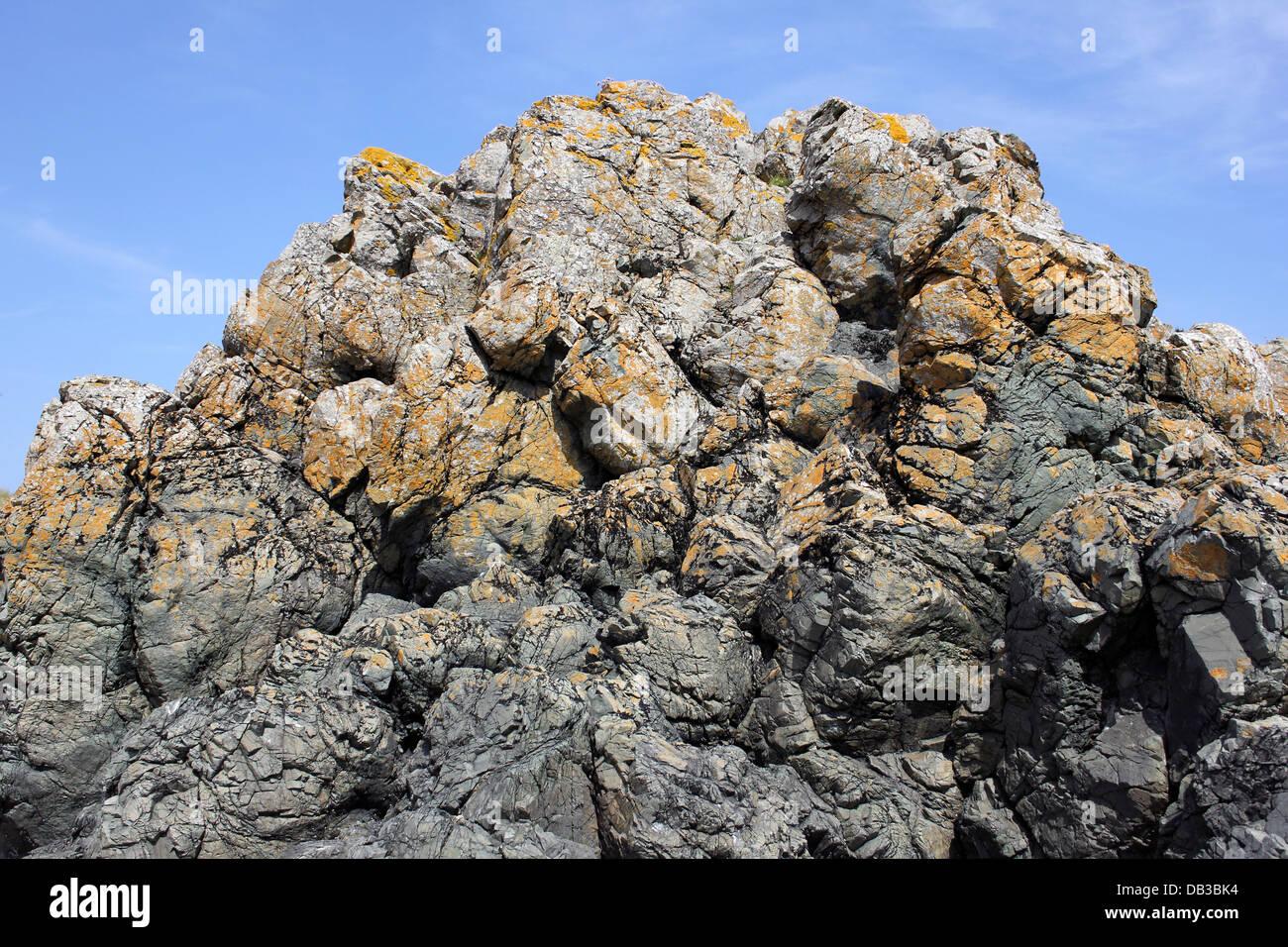 Basaltic Pillow Lava On Llanddwyn Island, Anglesey - Stock Image