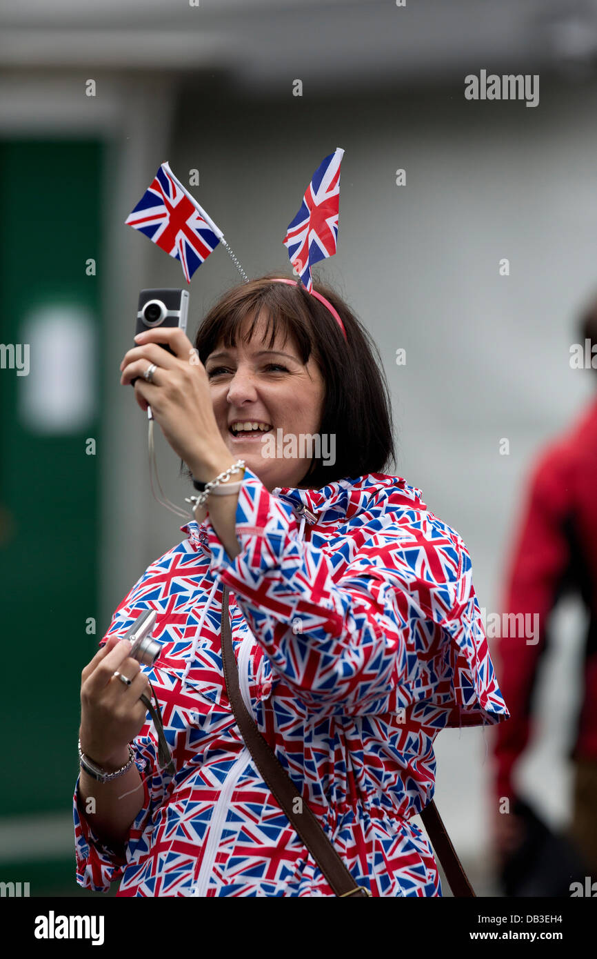 Andy Murray fan in Union Jack costumes before the Mens Final The Championships Wimbledon 2012 - Stock Image