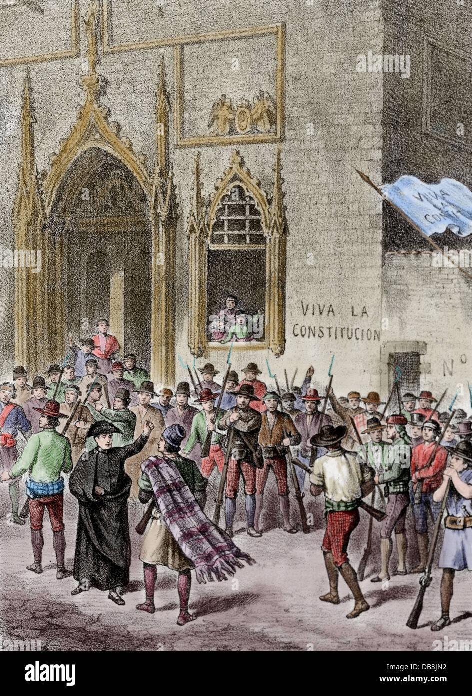 Spain. Liberal Triennium. National Militia Uprising in Valencia in 1822 to defend the Spanish Constitution against - Stock Image