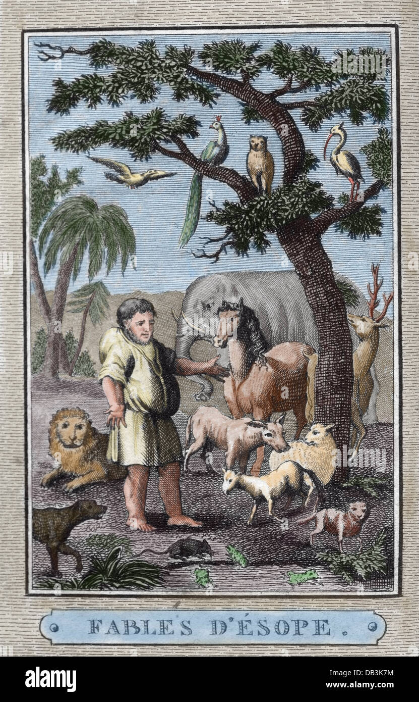 Aesop (c. 620–564 BC). Ancient Greek fabulist. Aesop's Fables. Engraving of French edition. Paris, 1801. Engraving. - Stock Image