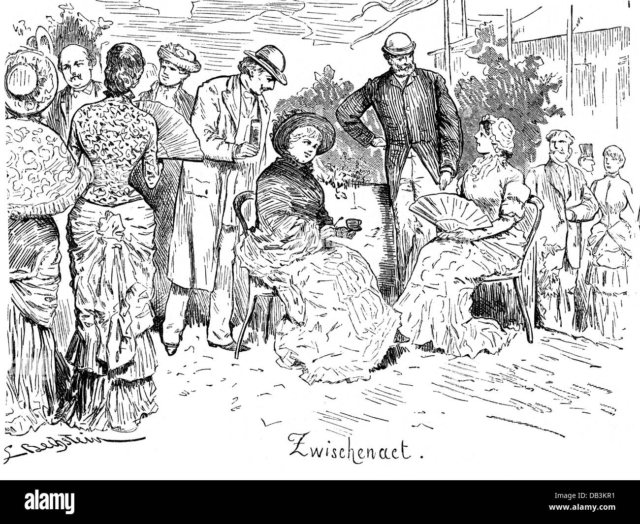 theatre, opera, 'Parsifal', by Richard Wagner, guests during break of the world premiere, Bayreuth, 26.7.1882, - Stock Image