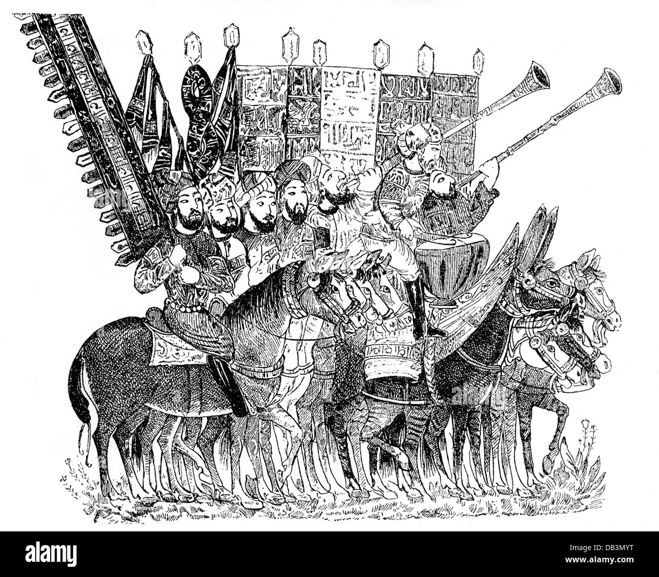 military, Middle Ages, Arab standard-bearer and musicians, wood engraving, before 1896, Additional-Rights-Clearences - Stock Image