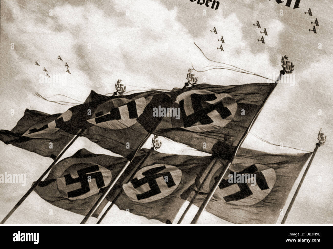 National Socialism / Nazism, emblems, swastika flags, illustration, from a magazine, circa 1935, Additional-Rights - Stock Image