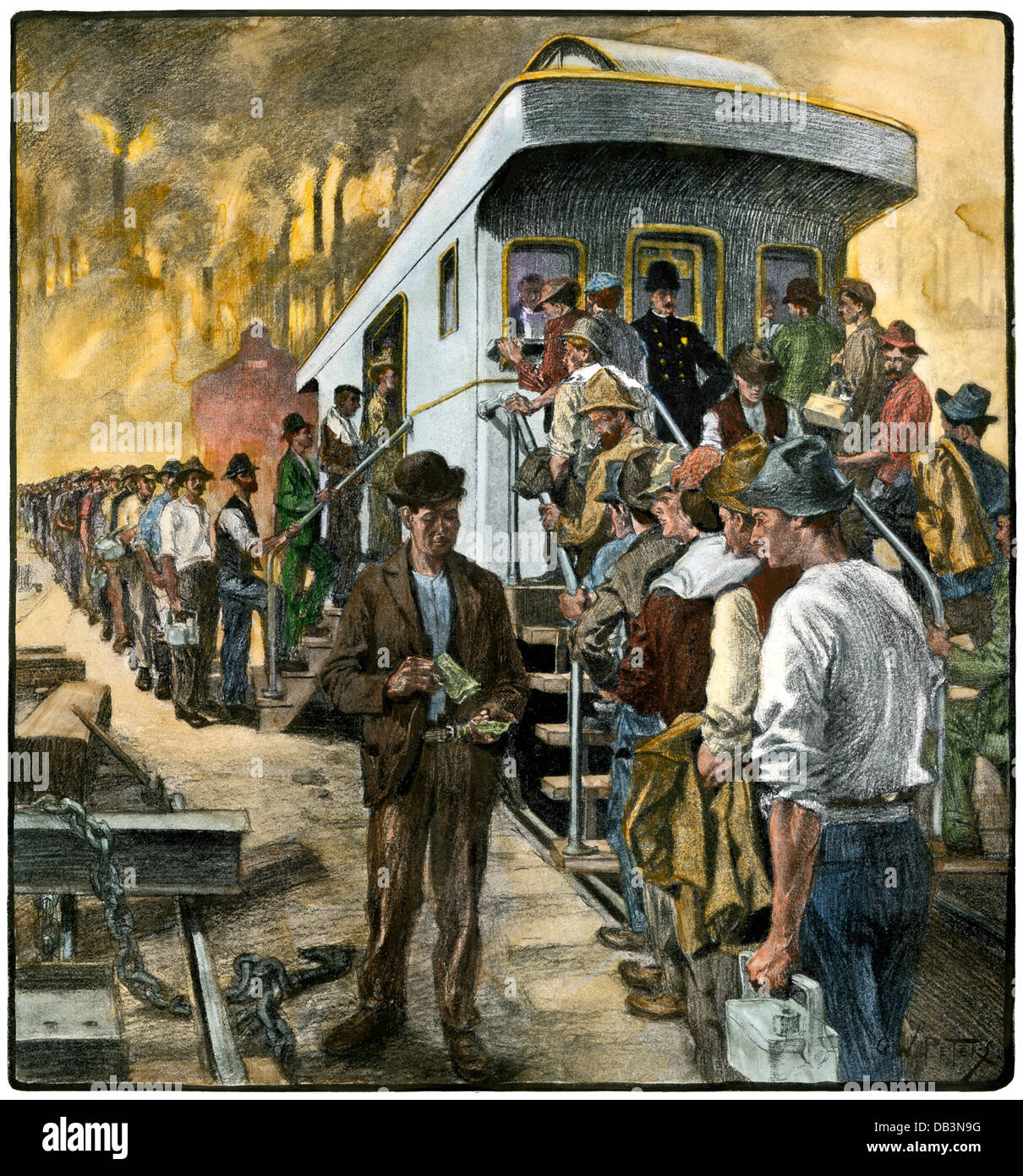 US Steel workers lined up at the pay-car at the Homestead Works, 1901.  Hand-colored halftone of an illustration - Stock Image