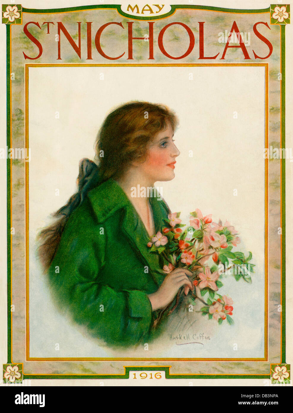 St Nicholas Magazine cover, May 1916. Color halftone illustration - Stock Image