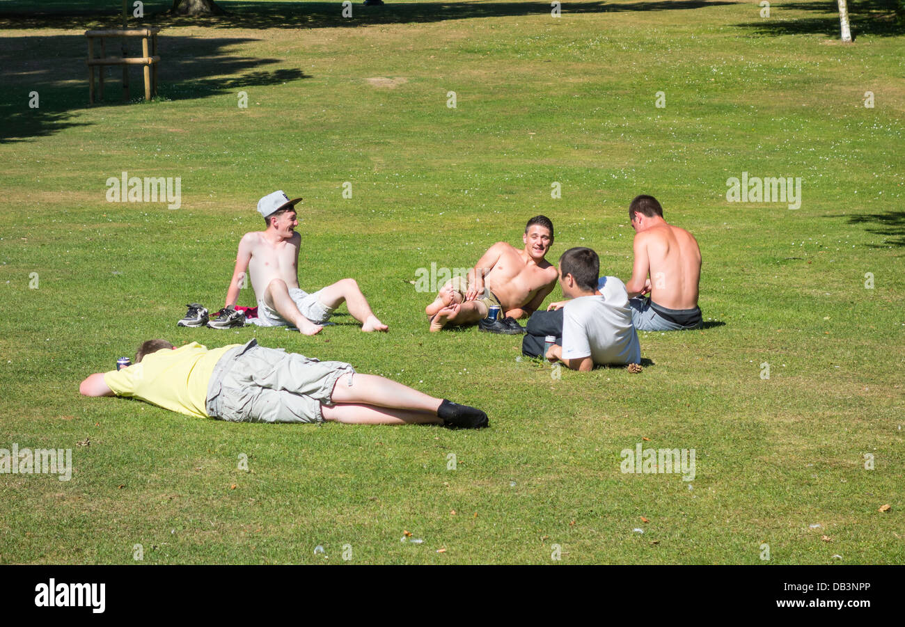 Youths Drinking Alcohol in Public Place Park - Stock Image