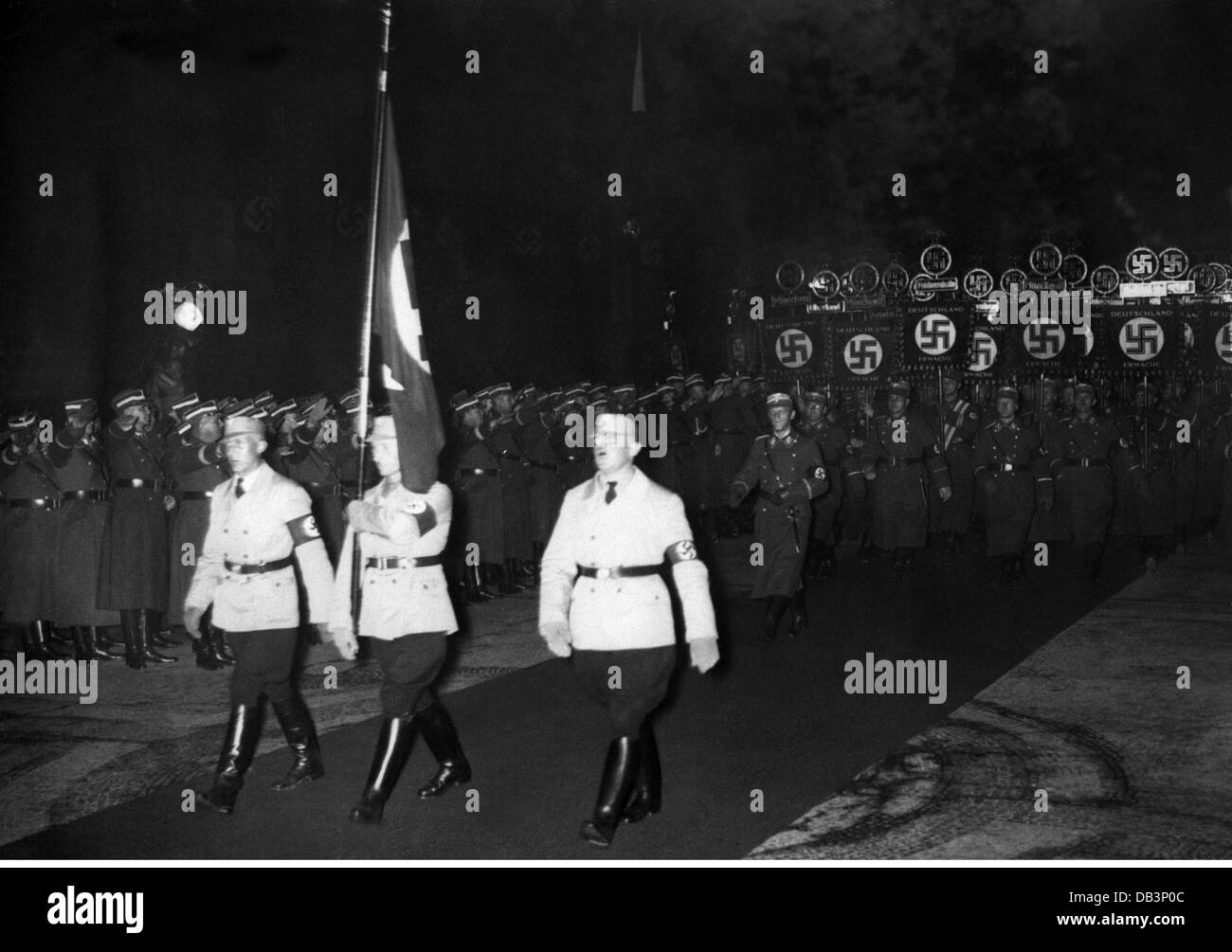 National Socialism, organisations, Sturmabteilung (SA), parade in reminiscence of the 'March to Feldherrnhalle' - Stock Image