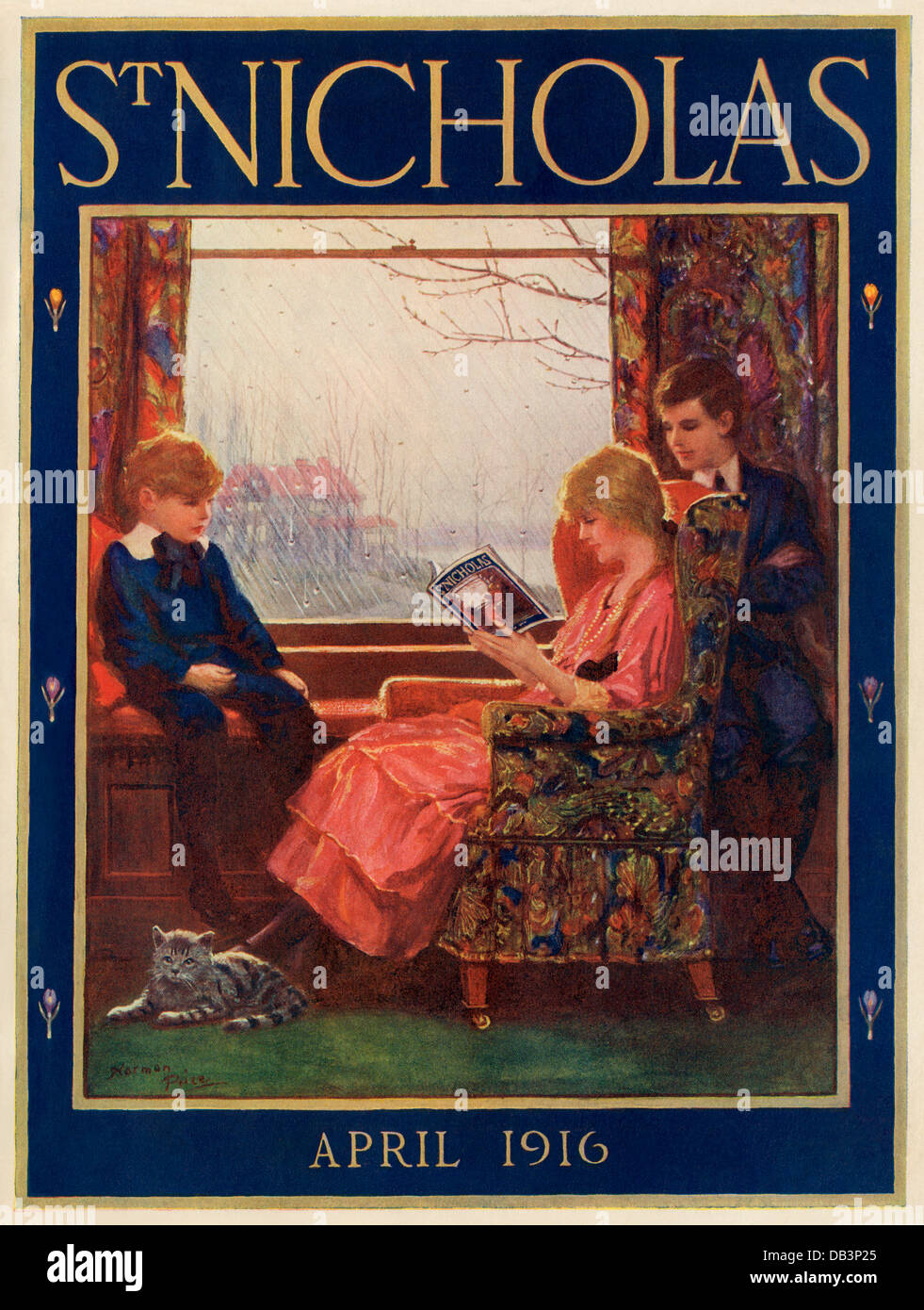 St Nicholas Magazine cover, April 1916. Color halftone illustration - Stock Image