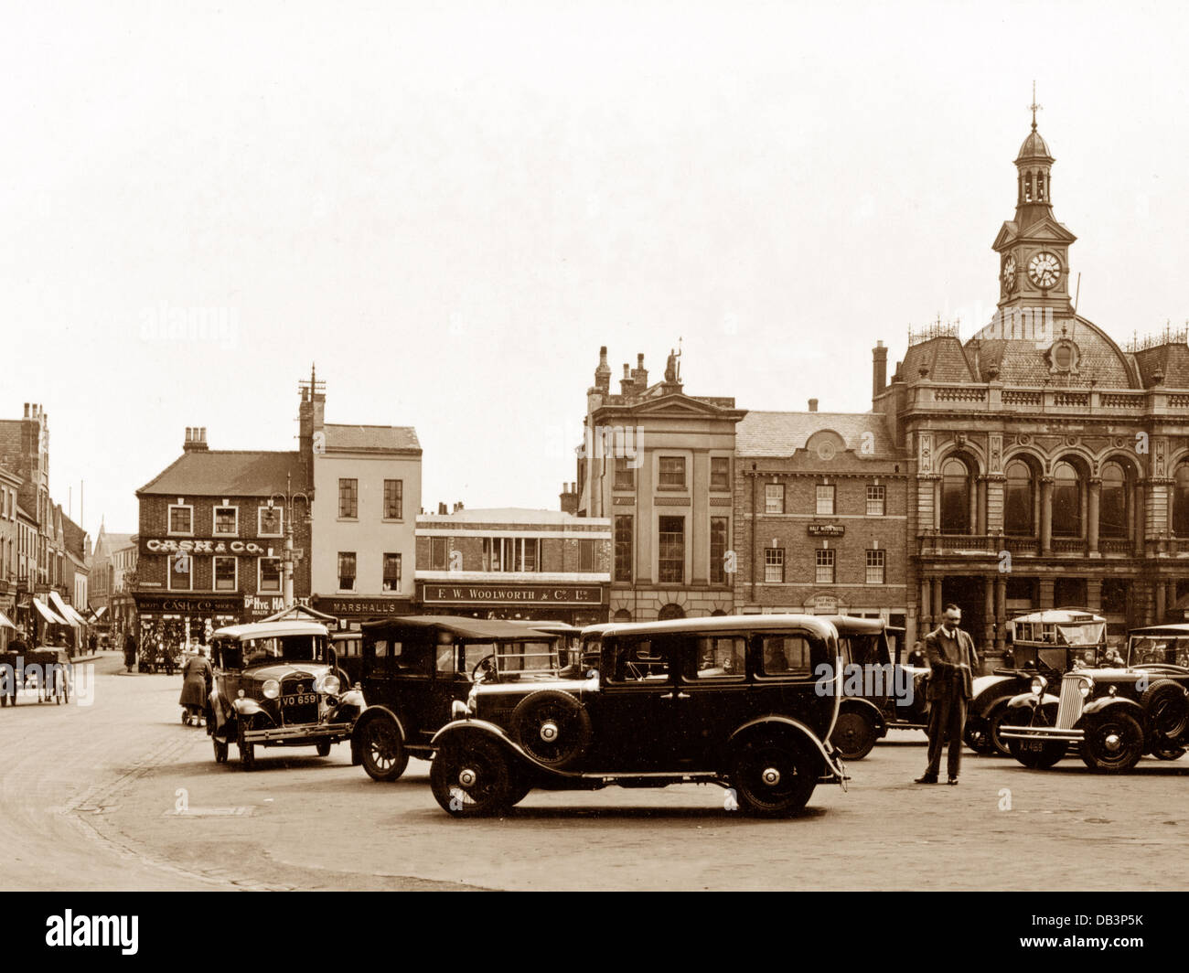 Retford Market Square probably 1930s - Stock Image