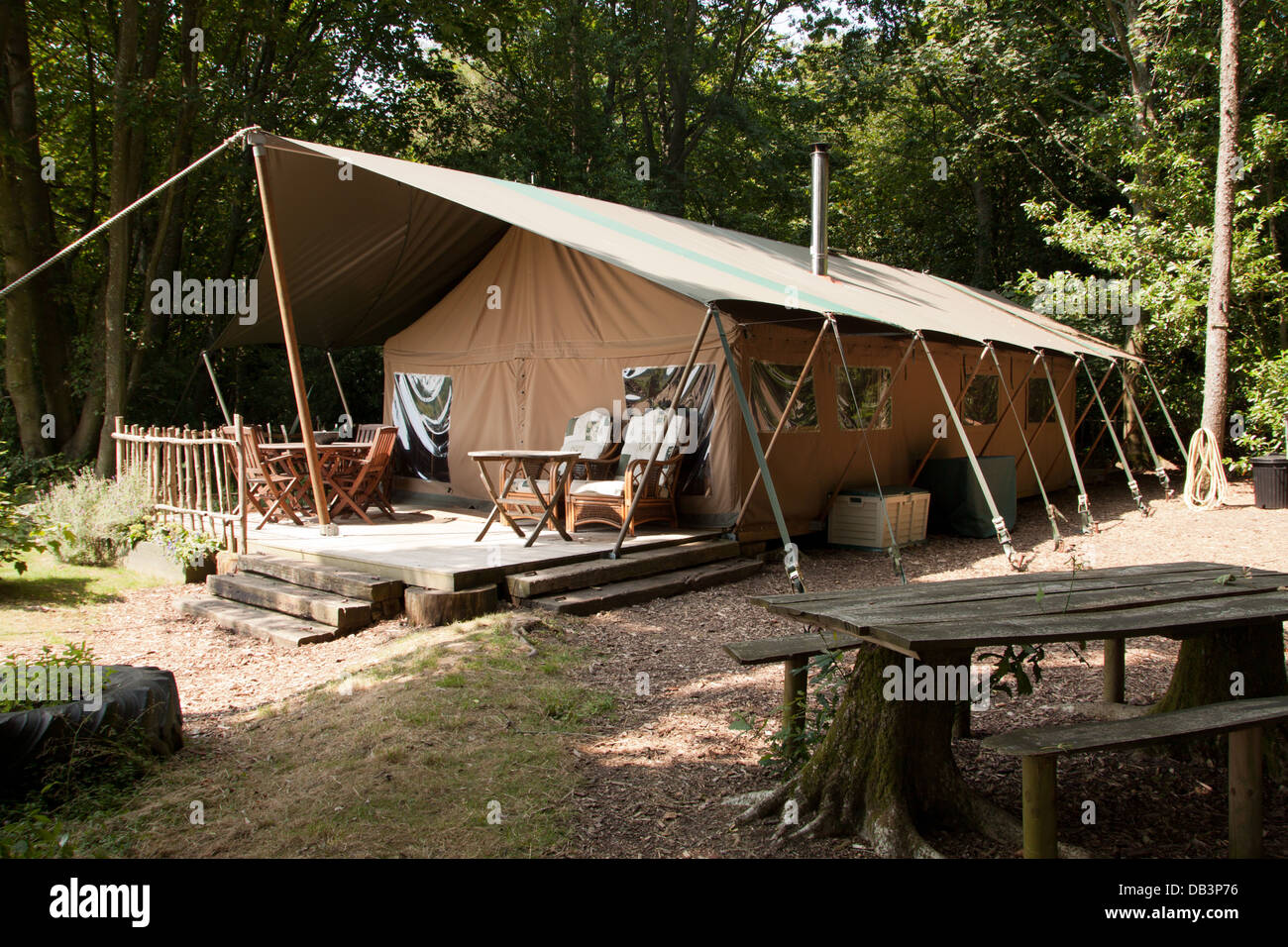 Glamping - In English 'Posh Camping...' at the Bereleigh Estate, East Meon, - Stock Image