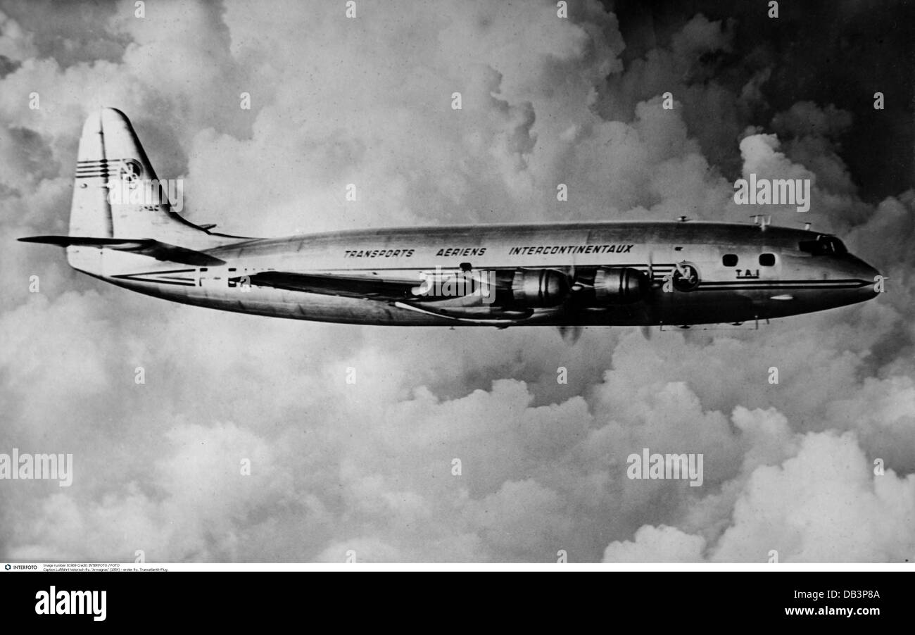 Transport Transportation Aviation French Armagnac First Transatlantic Flight 1954 Additional Rights Clearences NA