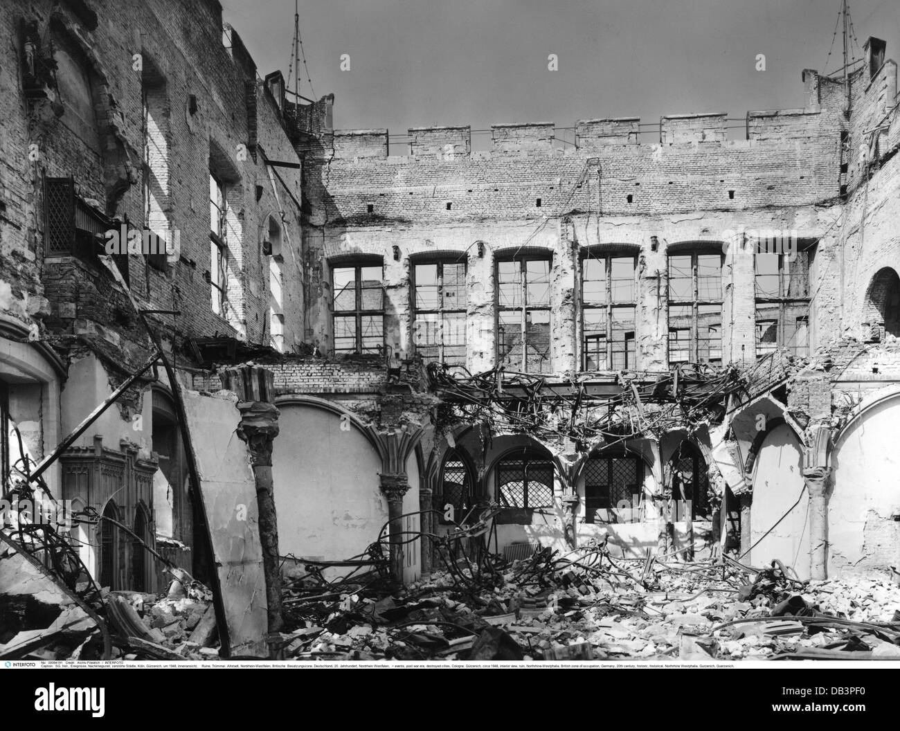 events, post war era, destroyed cities, Cologne, Gürzenich, circa 1948, Additional-Rights-Clearences-NA - Stock Image