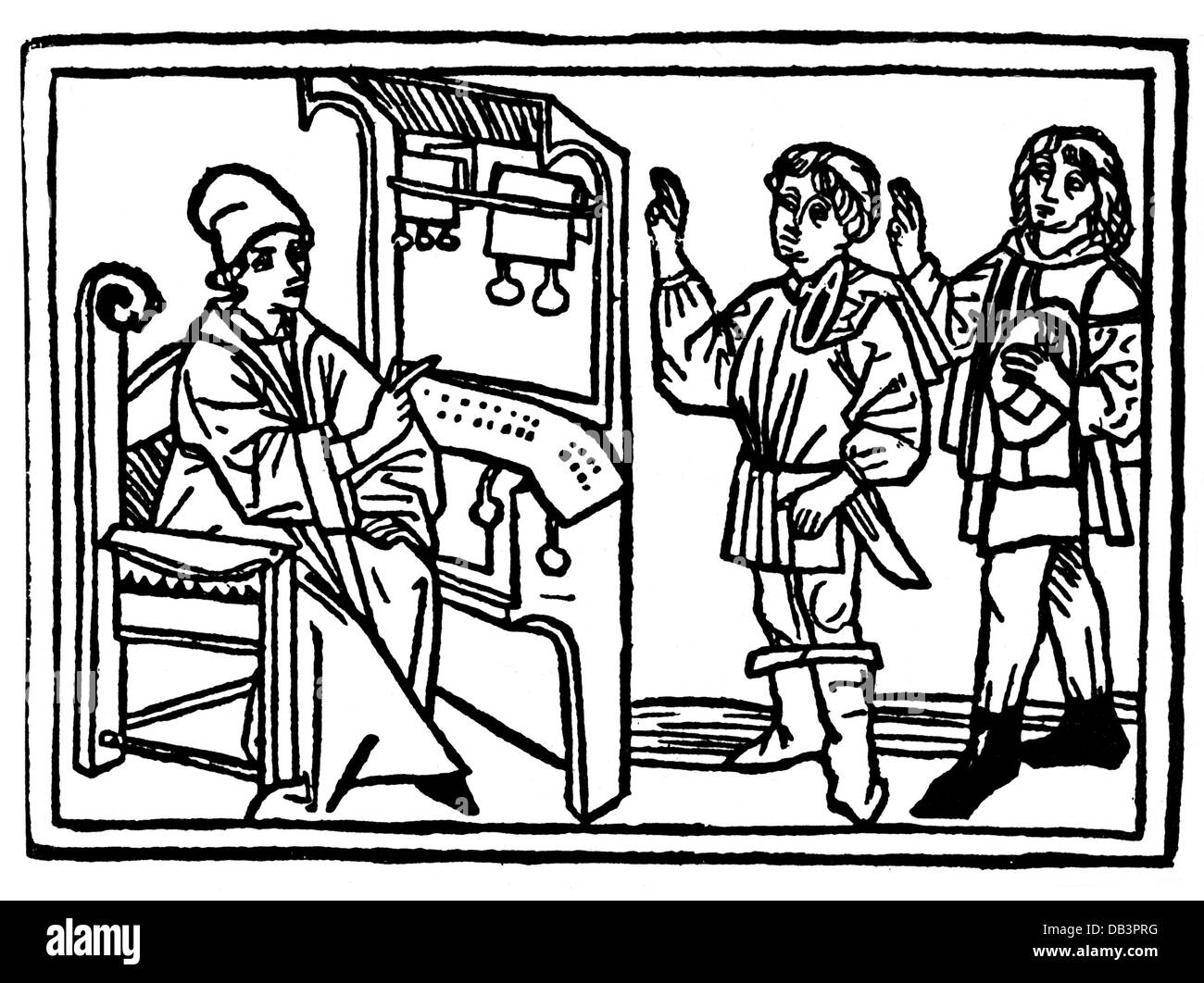 Justice Civil Law Notaries Notary Engaging Two Clerks Woodcut From