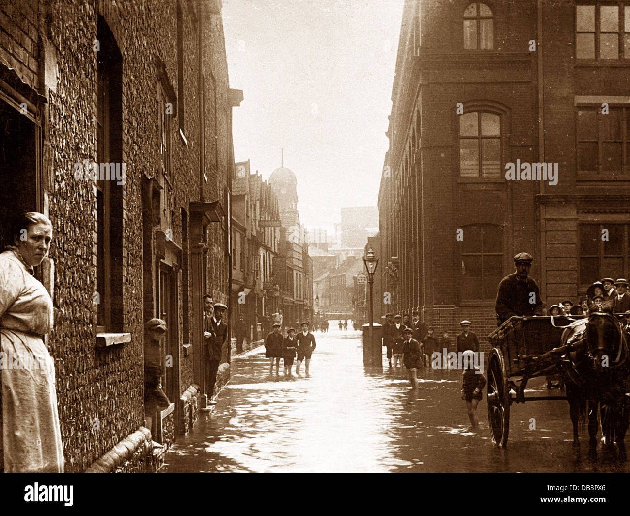 Norwich St. George Street Flood 27th August 1912 - Stock Image
