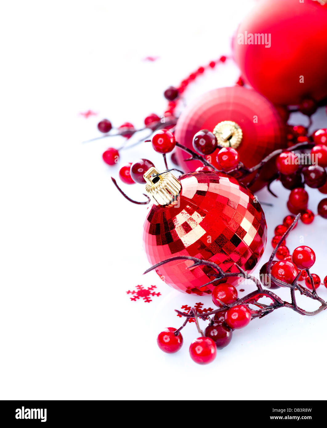 Christmas and New Year Baubles and Decorations Stock Photo