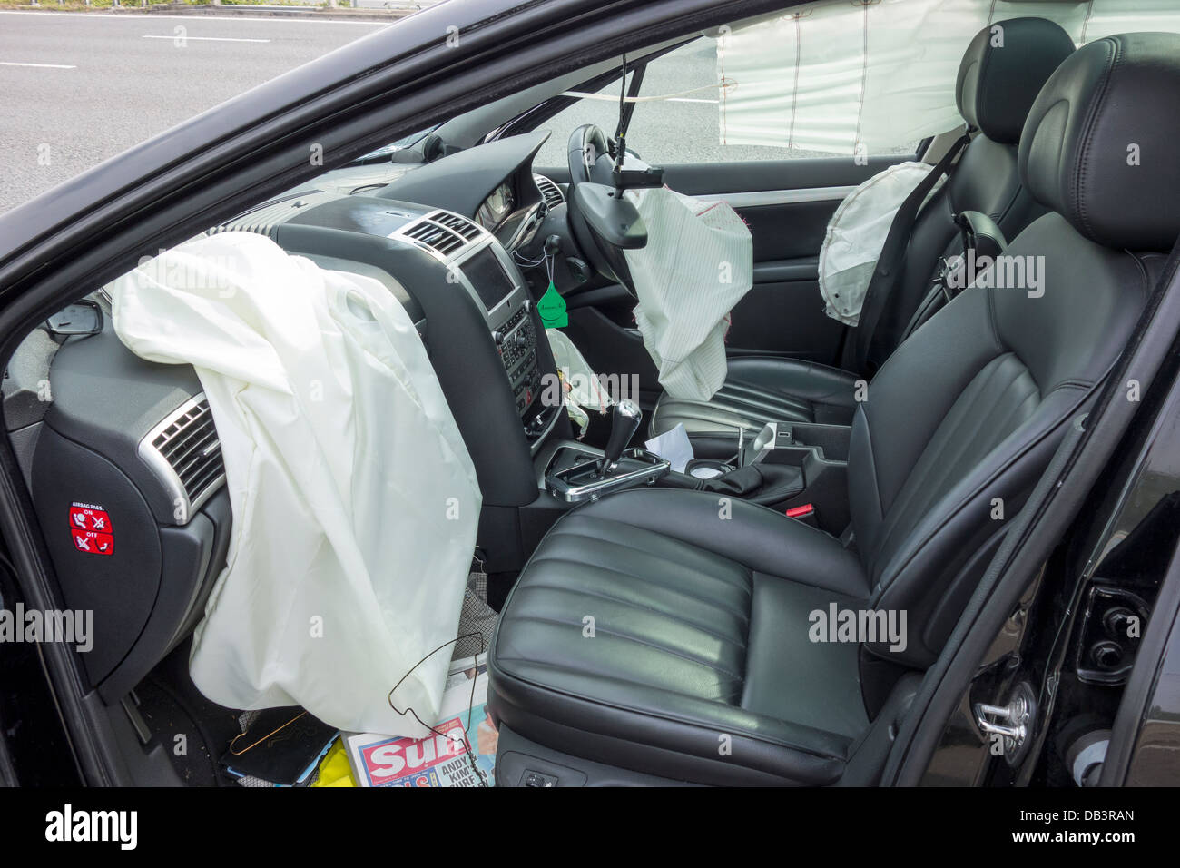 Motorway Accident High Speed Puncture Air Bags Deployed Saving Driver from Serious Injury. Stock Photo