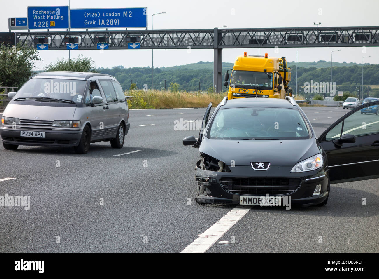 Motorway Accident High Speed Puncture. Collision with central reservation barrier. Stock Photo