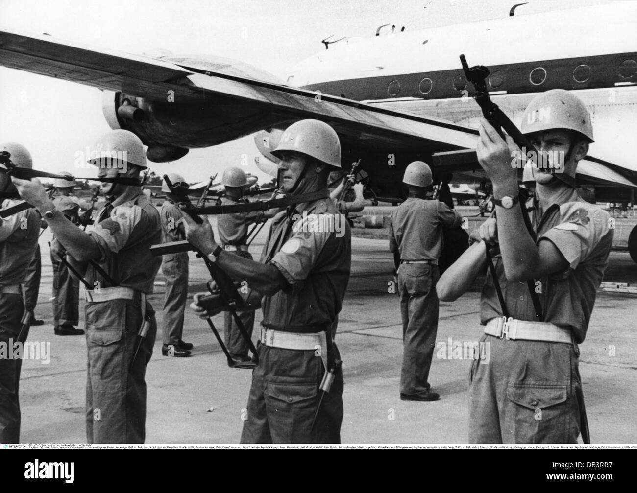politics, United Nations (UN), peacekeeping forces, assignment in the Congo 1961 - 1964, Irish soldiers at Elizabethville - Stock Image