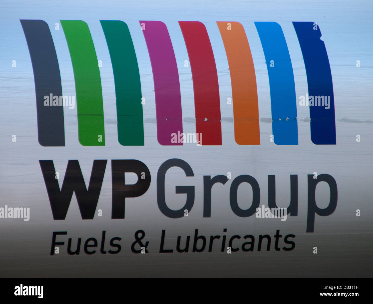 WP Group Fuels & Lubricants sign on side of lorry. - Stock Image
