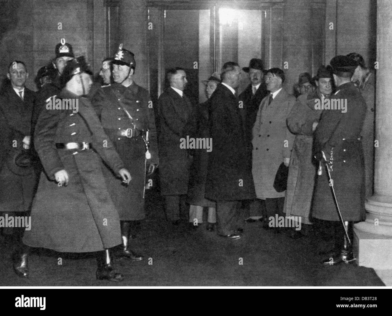 Reichstag Fire, Berlin, 27.2.1933, Chancellor of the Reich Adolf Hitler, President of the Reichstag Hermann Goering - Stock Image