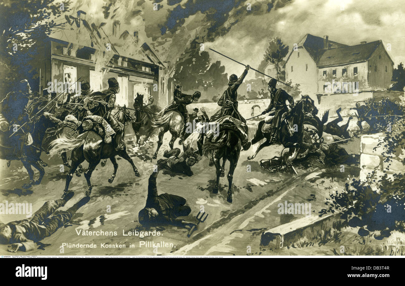 events, First World War / WWI, Eastern Front, looting cossacks at Pillkallen, East Prussia, postcard after drawing, - Stock Image