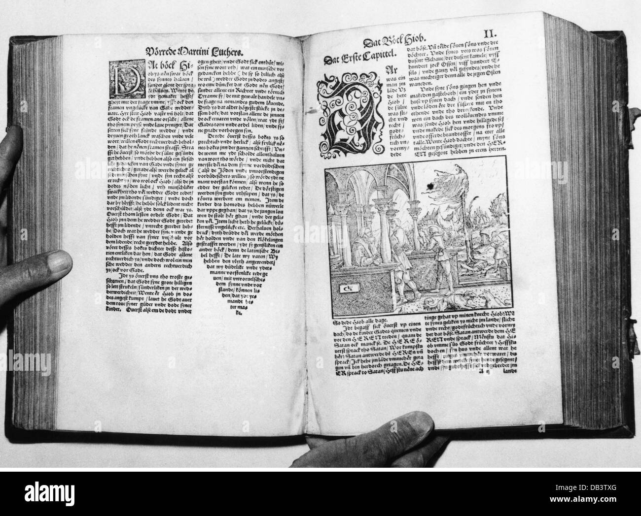 literature, Bible, Windsheim Bible, with a chapter foreword by Martin Luther, circa 1535, exhibited during 9th German - Stock Image