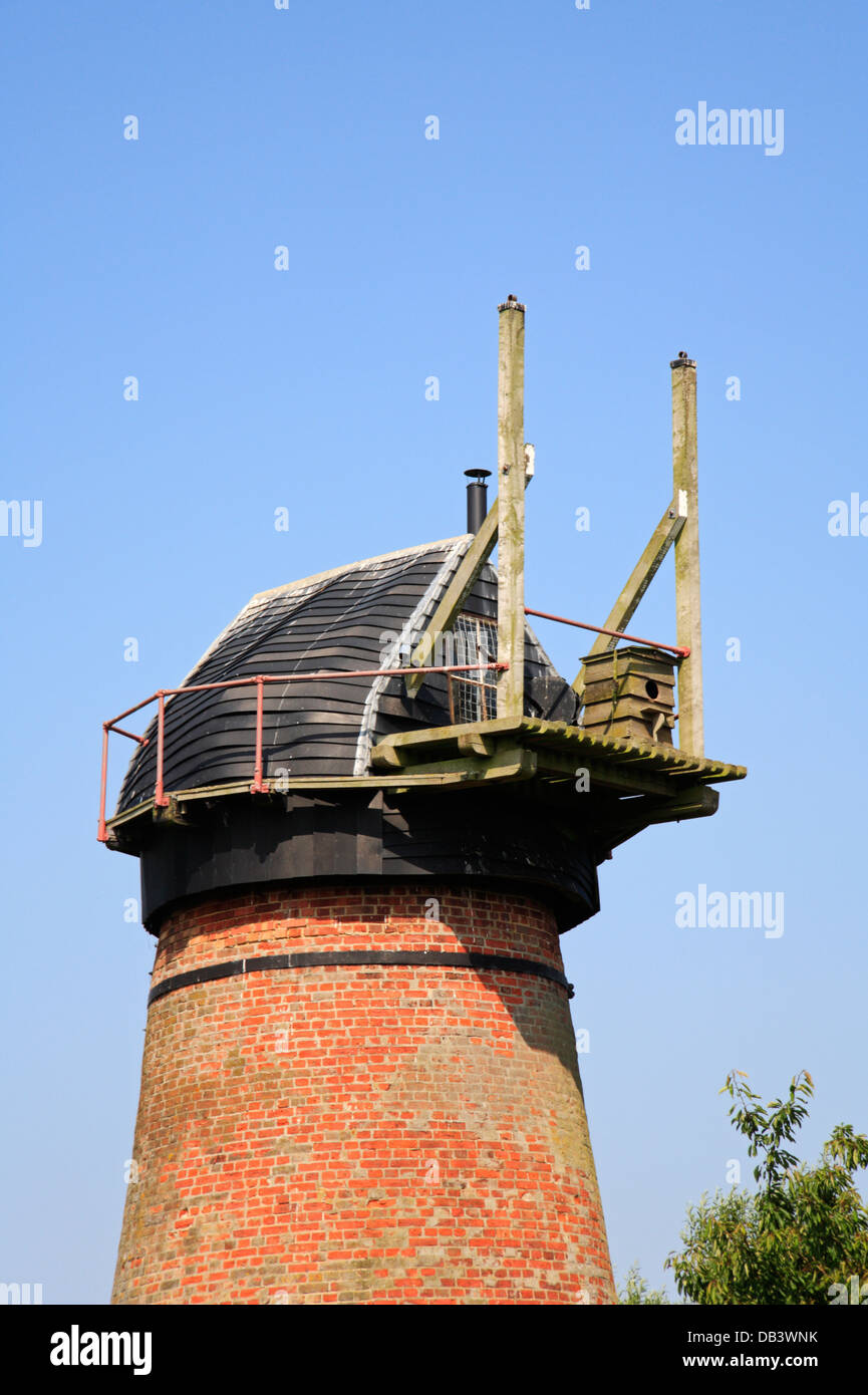 A view of the Norfolk boat-shaped cap of Toft Monks Drainage Mill by Chedgrave Marshes, Norfolk, England, United - Stock Image