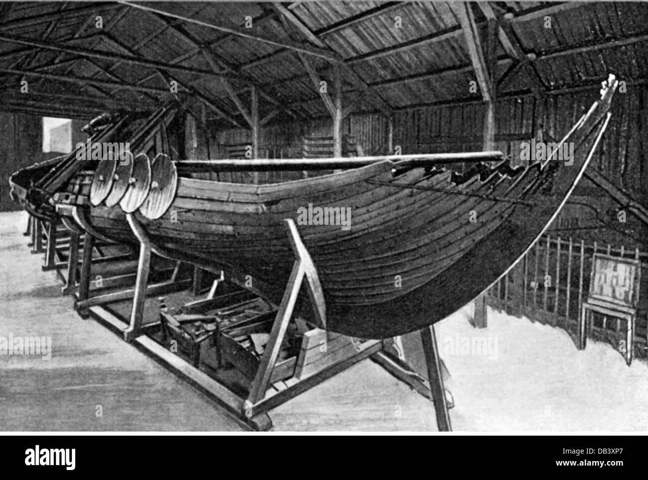 transport / transportation, navigation, Vikings, Viking ship, found in the Sandefjord, ethnological museum, Oslo, - Stock Image