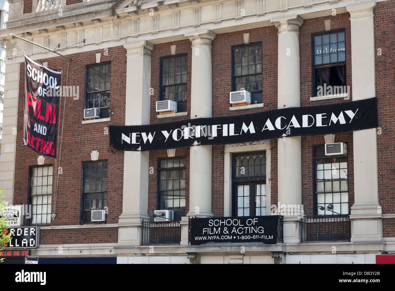 New York Film Academy sign on the building of the School of Film and Acting in New York City - Stock Image