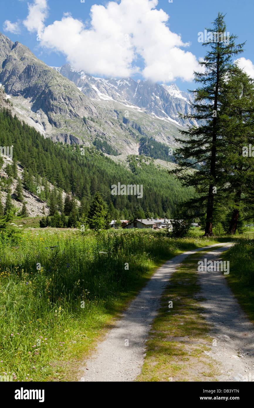 Alpine landscape. Mont Blanc, Val Veny, Valle d'Aosta, Italy - Stock Image