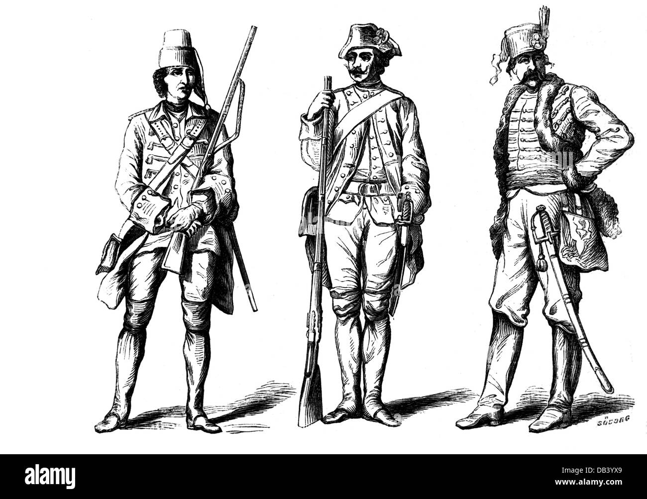 military, Denmark, 'Old uniforms, from the middle of the last century', musketeer, rifleman, hussar, wood - Stock Image