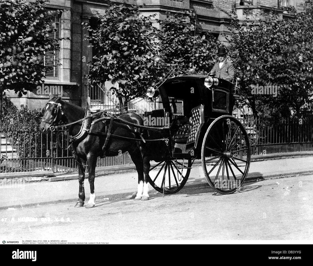 transport / transportation, coach, one-horse carriage, hackney carriage, Handsom Cab, London, Great Britain, late - Stock Image